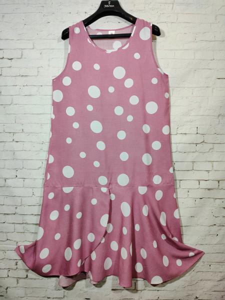 Женское штапельное платье в горох пудрового цвета