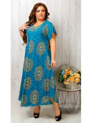Женское яркое штапельное платье голубого цвета