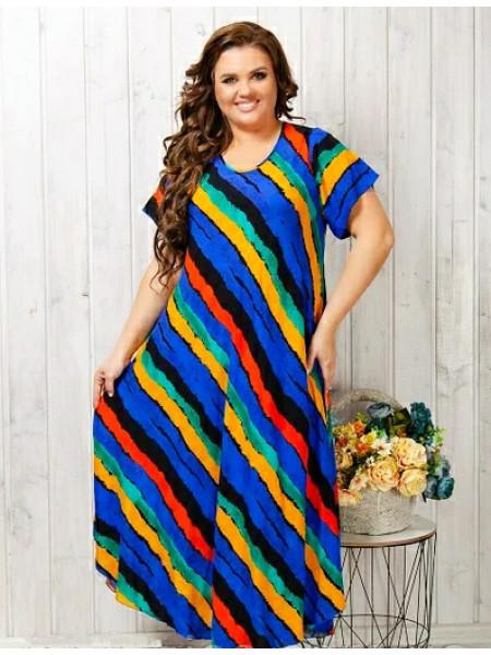 Женское длинное штапельное платье яркая полоска
