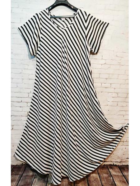 Женское длинное штапельное платье принт полоска