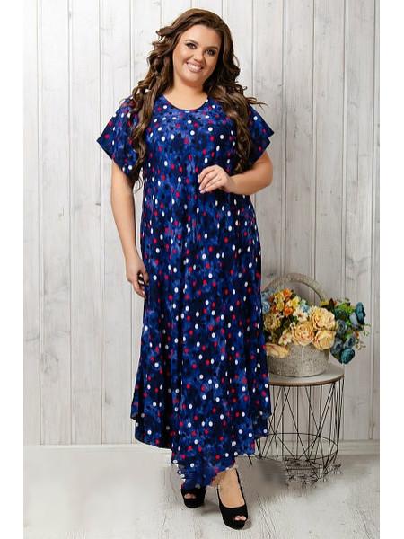 Женское яркое штапельное платье принт горох