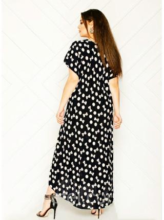 Длинное летнее платье для женщин горох и бант