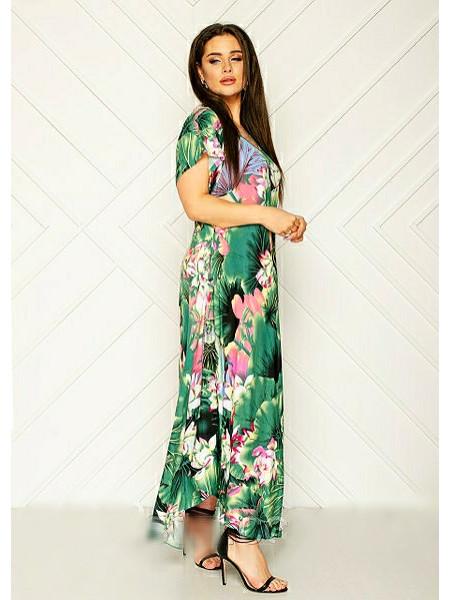 Длинное летнее платье для женщин зелёного цвета