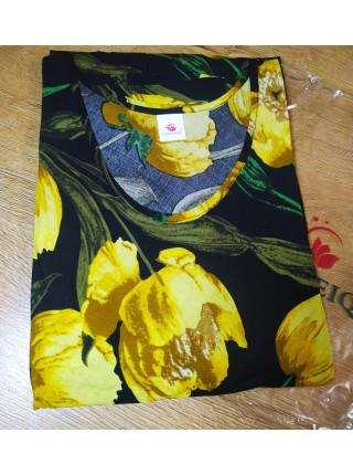 Яркое женское летнее платье жёлтые тюльпаны