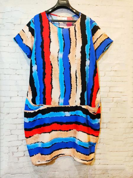 Женское штапельное платье-туника с карманами