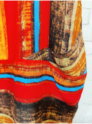 Женское штапельное платье-туника принт полоска