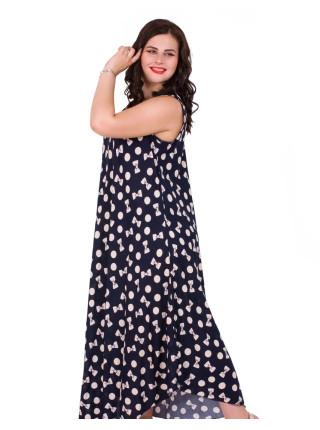 Длинное женское платье в горошек с бантиками бабочками