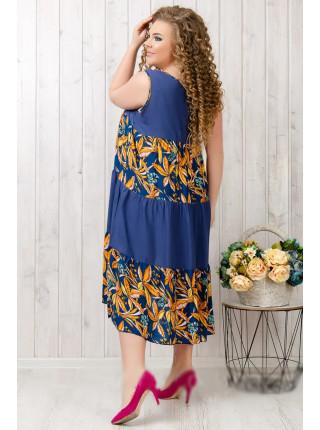 Женское летнее штапельное платье ярусами