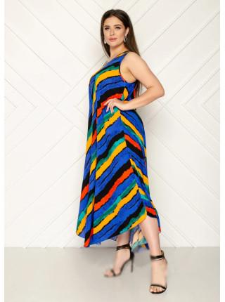 Длинное штапельное платье в полоску