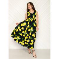 Женское штапельное платье яркий принт