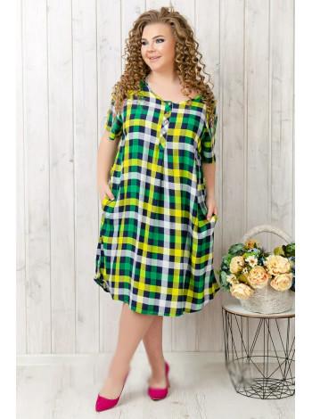 Женское летнее платье-рубашка в клеточку