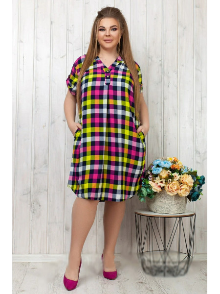 Летнее штапельное платье-рубашка в клеточку