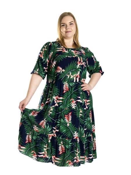 Летнее платье из штапеля с пальмовыми листьями