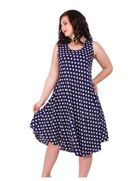 Летнее штапельное платье-туника в горошек
