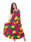 Яркое женское платье из штапеля с тюльпанами