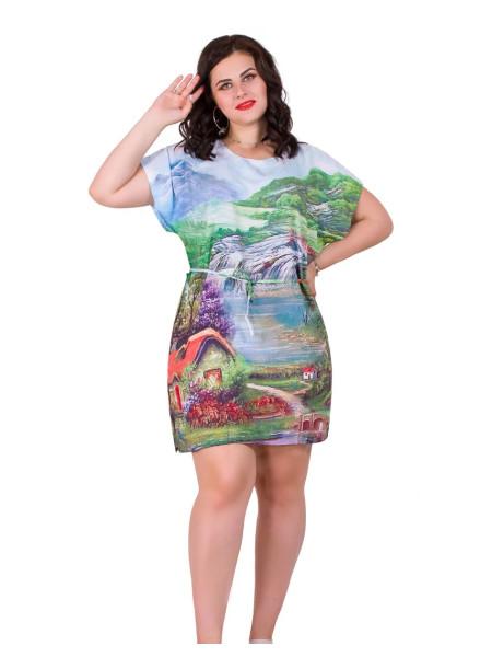 Женская молодежная туника из штапеля с пейзажем