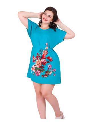 Женская молодежная туника из штапеля с цветами