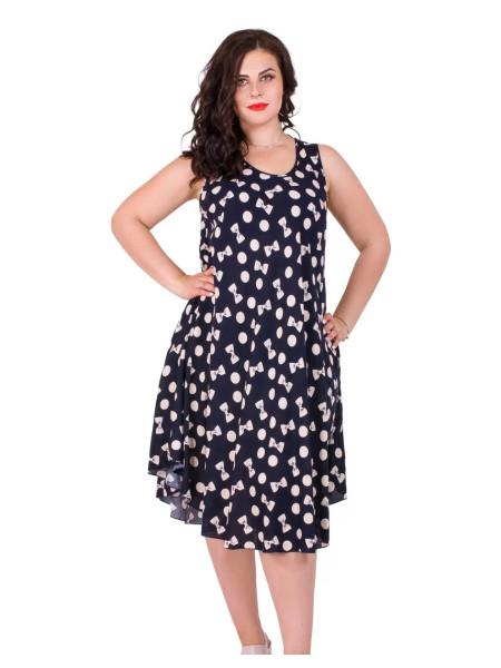 Женское летнее платье в горошек с бантиками бабочками
