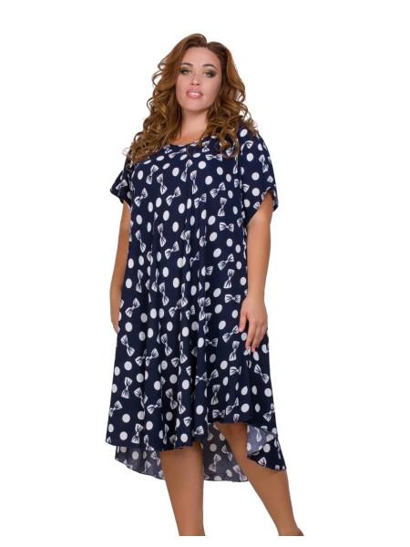 Женское штапельное платье в горошек с бантиками