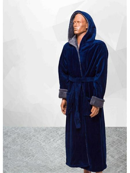 Мужской махровый халат однотонный в ассортименте больших размеров