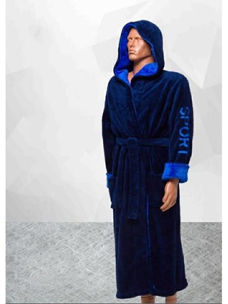 Мужской махровый халат однотонный sport больших размеров