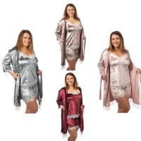 Велюровый комплект для сна шорты майка халат большого размера