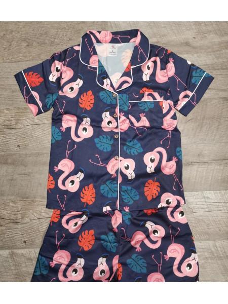 Атласная женская пижама шорты и рубашка с фламинго