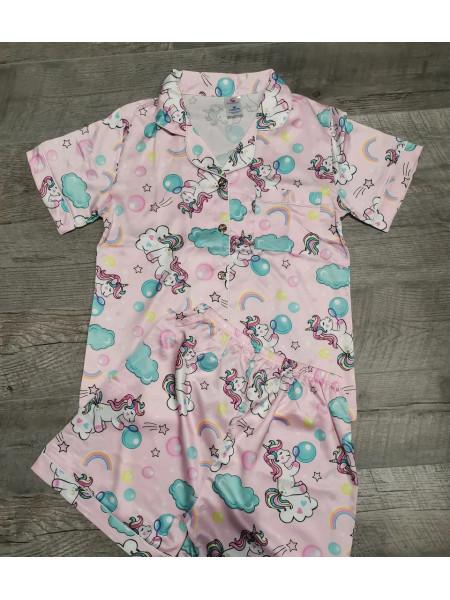 Атласный пижамный комплект шорты и рубашка с единорогом