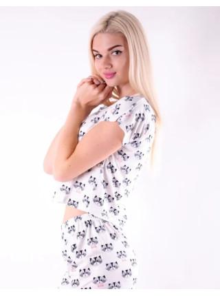 Летняя молодежная пижама для женщин топик и шорты с котиками