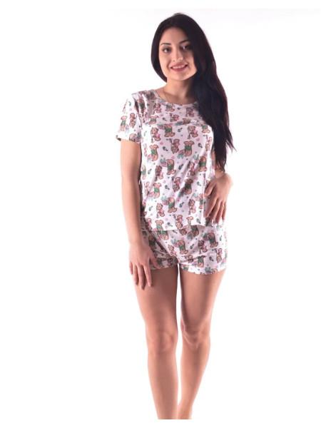 Летняя женская пижама шорты и футболка с зайчиками
