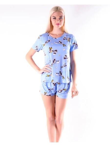 Молодежная пижама для женщин футболка и шорты с кроликами