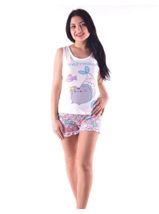 Молодежная пижама для женщин шорты и майка с котиком