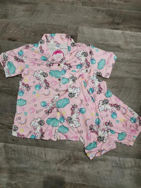 Молодежная пижама для женщин штанишки и рубашка с единорогами