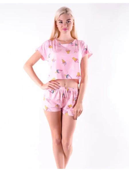 Молодежная пижама для женщин топик и шорты с мороженым