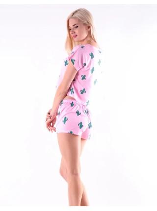 Пижама молодежная женская топик и шорты с кактусами