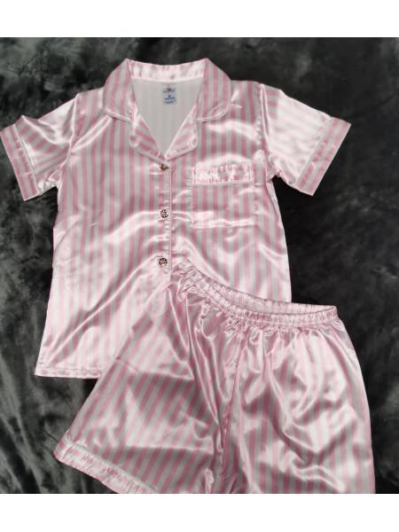 Пижамный комплект из атласа рубашка и шорты в полоску