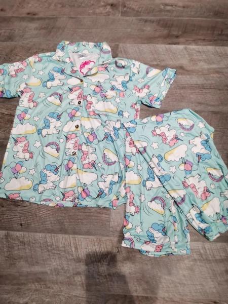 Трикотажная пижама для женщин штаны и рубашка с единорогами