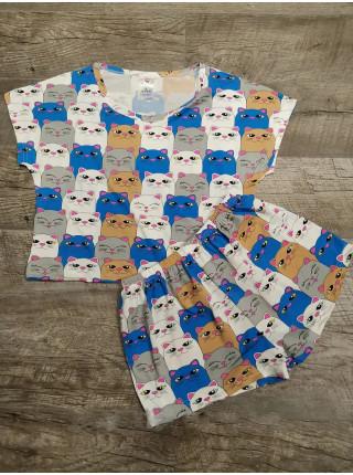 Трикотажный комплект-пижама топик и шорты с котятами