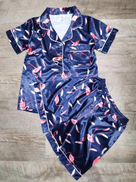 Женская атласная пижама рубашка и шорты с фламинго