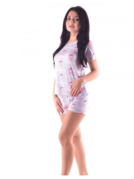 Женская летняя пижама футболка и шорты с хрюшками