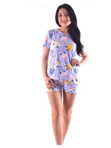 Женский трикотажный комплект-пижама шорты и футболка