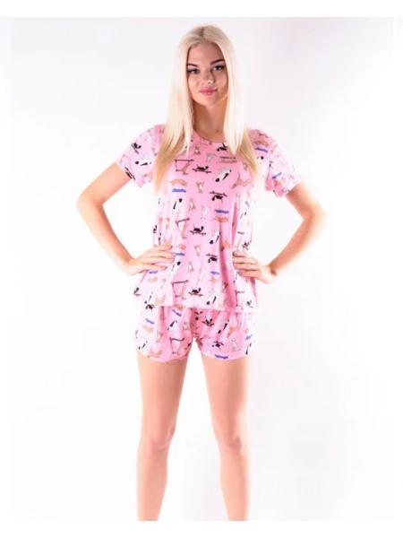 Женская молодежная пижама футболка и шорты с собачками