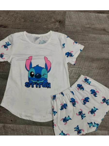Женская молодежная пижама футболка и шорты Стич