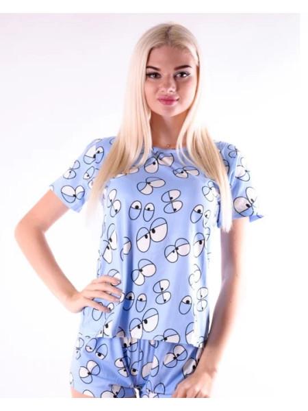 Молодежная пижама для женщин шорты и футболка с глазами