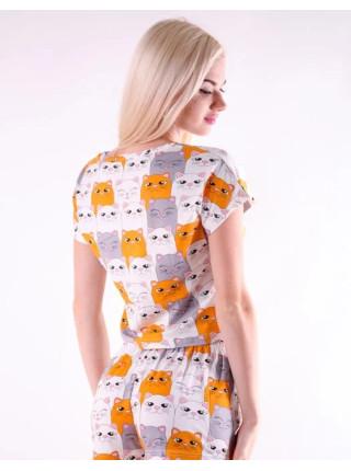 Женская молодежная пижама шорты и топик с котятами