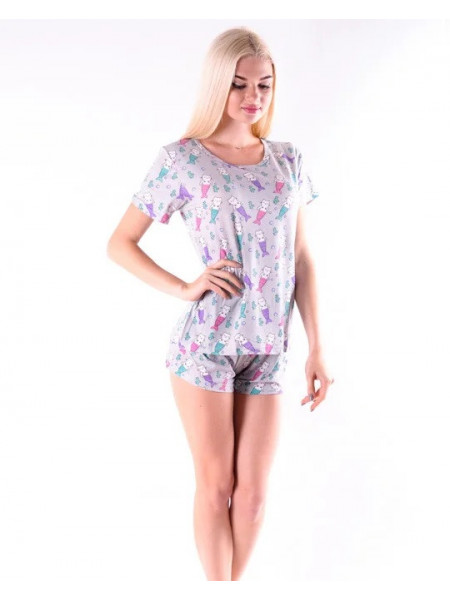 Женская трикотажная пижама шорты и футболка с кошками-русалками