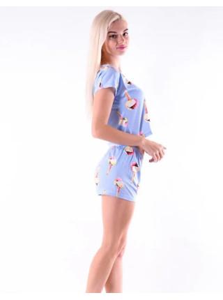 Женская трикотажная пижама топик и шорты с мороженым