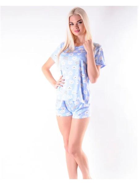 Женский летний комплект-пижама шорты и футболка с кошечками