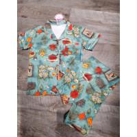 Женский летний трикотажный комплект-пижама рубашка и штаны