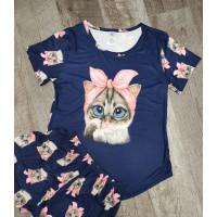 Женский летний трикотажный комплект-пижама с кошкой
